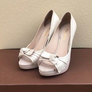 Cream Nappa Leather Prada Peep-Toe Heels